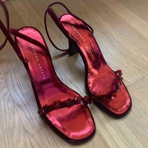 Martinez Valero cherry velvet heels size 9